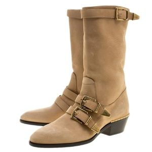 Chloe Beige Brown Susanna Mid Calf Leather Boots